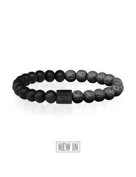 Black Collection   Lava Stone Bead Bracelet by Rose Gold & Black