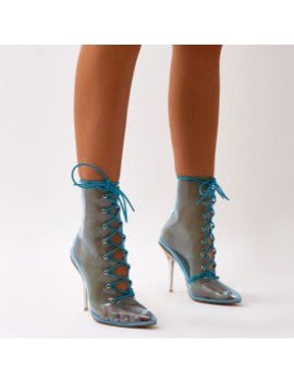 Hawt Clear Perspex Lace Up Ankle Boots In Blue by Public Desire