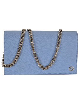 Gucci Women's Leather Interlocking Gg Crossbody Wallet Purse (466506/Blue) by Gucci