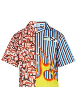 Flame Printed Cotton Twill Shirt by Prada
