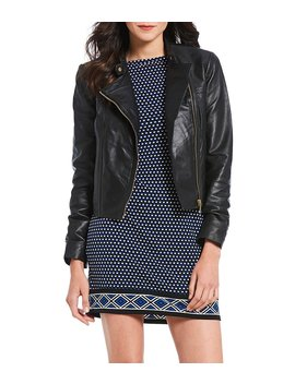 Lambskin Leather Moto Jacket by Generic