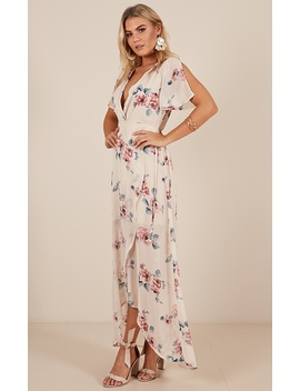 Just A Lady Maxi Dress In Cream Floral by Showpo Fashion