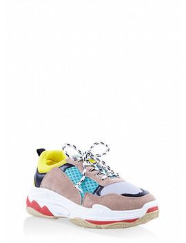 Color Block Platform Sneakers by Rainbow