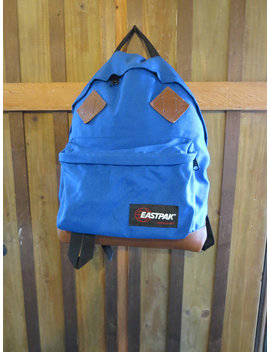 Eastpak Vintage Leather Bottom Backpack With Padded Back    Vintage Royal Blue Rucksack With Leather Diamonds by Ciao Baby Vintage