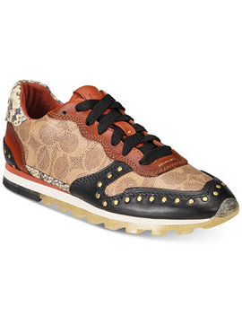 Signature Leather Jogger Sneakers by Coach