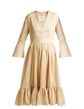 Sea Island Bell Sleeve Linen Dress by Loup Charmant