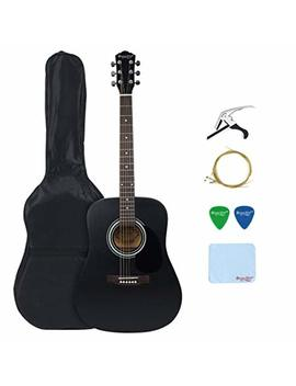 41 Inch Acoustic Guitar, Strong Wind Full Size Dreadnought Steel String Acoustic Guitar Kit With Gig Bag, Extra Strings, Picks, Polishing Cloth And Guita Capo   Black by Strong Wind