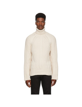 White Cable Knit Turtleneck by Alexander Mcqueen