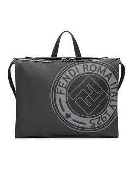 Black 'fendi Roma' Stamp Messenger Bag by Fendi