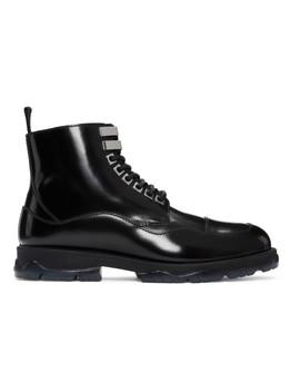Black Leather & Shearling Baldwyn Boots by Jimmy Choo
