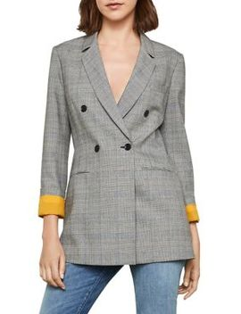 Long Plaid Button Blazer by Bcbgmaxazria