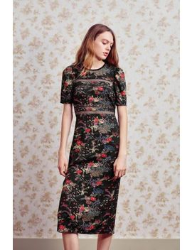 Uo Emma Marie Lace Trim Midi Dress by Urban Outfitters