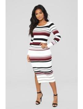 Isabella Sweater Dress   Ivory/Combo by Fashion Nova