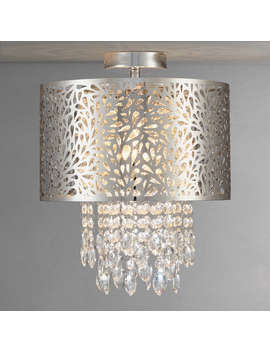 John Lewis Destiny Fretwork Semi Flush Ceiling Light, Chrome by John Lewis