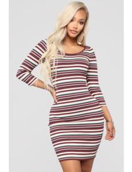 Tara Stripe Sweater Dress   Burgundy Combo by Fashion Nova