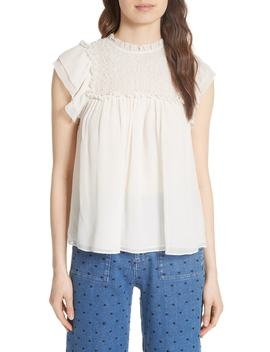 Callie Smocked Silk Cloqué Top by Ulla Johnson