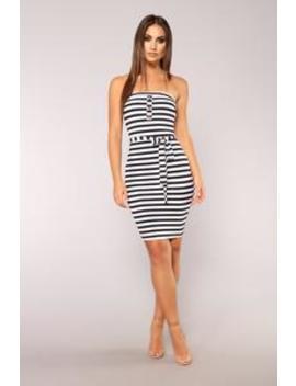 Wonderful Life Stripe Dress   Navy by Fashion Nova