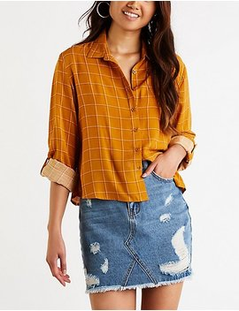 Windowpane Button Up Top by Charlotte Russe