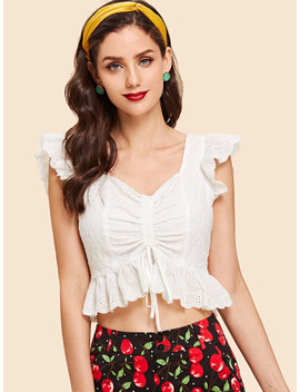 Ruffle Trim Eyelet Embroidery Shell Top by Shein
