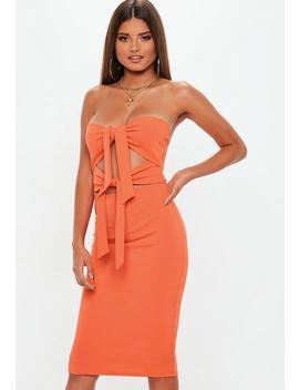 Orange Tie Front Bodycon Midi Dress by Missguided