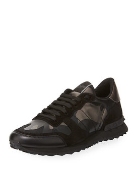 Men's Rockrunner Camo Leather Sneakers by Valentino Garavani