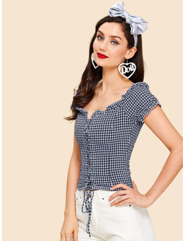 Lace Up Front Frilled Gingham Blouse by Shein