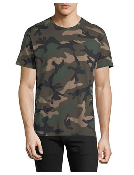 Men's Camouflage Crewneck T Shirt, Green by Valentino