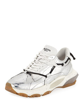 Men's Speckled Metallic Leather Dad Sneakers by Valentino Garavani