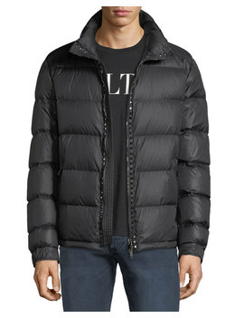 Men's Rockstud Hooded Puffer Jacket by Valentino