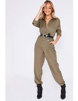 Thailah Khaki Utility Style Skinny Leg Jumpsuit by In The Style