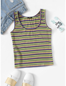 Striped Print Scoop Neck Tank Top by Shein