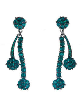 Crystal Double Drop Earrings by Oscar De La Renta