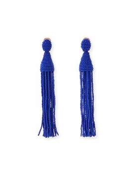 Long Beaded Tassel Clip On Earrings, Blue by Oscar De La Renta