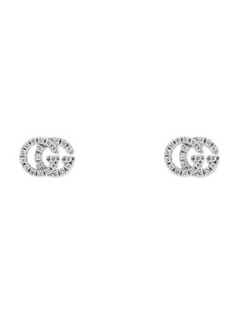 Running G Pave Diamond Stud Earrings In 18 K White Gold by Gucci