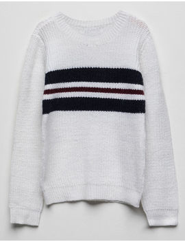 Woven Heart Chest Stripe White Girls Sweater by Woven Heart