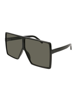 Sl 183 Betty 66mm Acetate Shield Sunglasses, Black by Saint Laurent