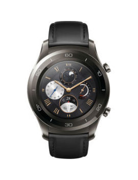 Watch 2 Classic Smartwatch (Titanium Gray, Black Hybrid Strap) by Huawei