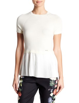 Knit & Pleated Peplum Blouse by Ted Baker London