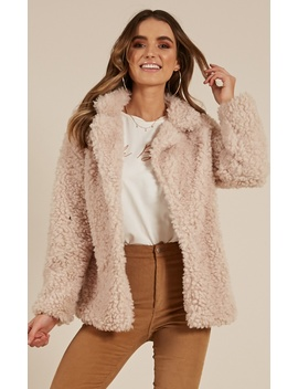 Down The Runway Coat In Beige Teddy by Showpo Fashion