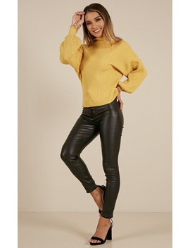 Cant Stand The Rain Knit Sweater In Mustard by Showpo Fashion