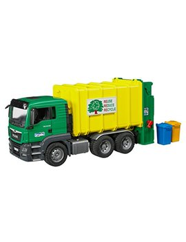 Bruder Man Tgs Rear Loading Garbage Green/Yellow Vehicle by Bruder Toys