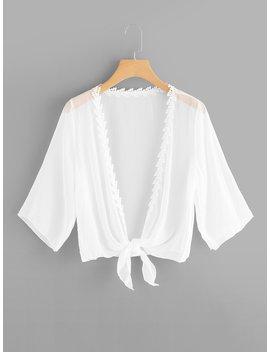 Lace Trim Knot Hem Kimono by Romwe