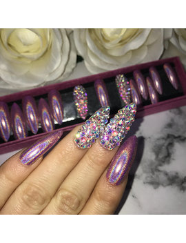 Luxury Hand Painted False Nails. Coffin Holographic Pink Nails. 24 Nail Set. by Nailit Uk