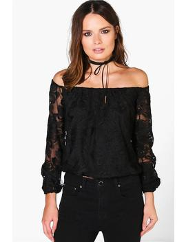 All Over Lace Bardot Top by Boohoo