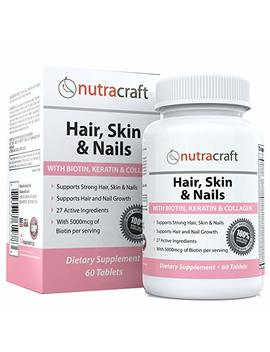 Biotin Hair Growth Vitamins Supplement With 5000mcg Of Biotin   Free Delivery And 100 Percents Money Back Guarantee   27 Potent Ingredients For Hair, Skin And Nails With Keratin, Collagen, Msm, Silica & Hyaluronic Acid To Support Hair Growth, Stronger ... by Nutracraft