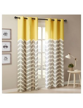 Elaine Chevron Printed Grommet Top Curtain Panel Pair by Shop This Collection