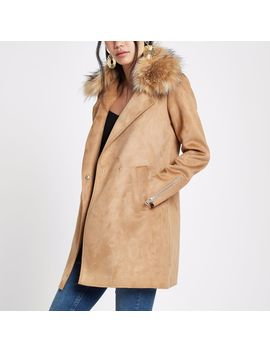 Brown Faux Fur Collar Swing Coat by River Island