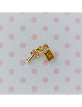 9mm Tiny Kawaii Golden Lock And Key Charms Jewelry Supplies Resin Supplies Nail Art Decoden Cabochons   4 Sets by Darling Doll Charm