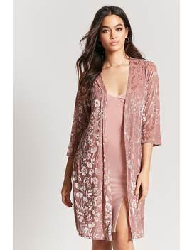 Floral Velvet Burnout Open Front Cardigan by Forever 21
