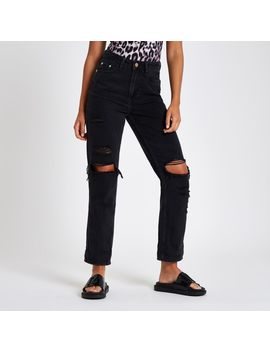 Black High Rise Mom Fit Ripped Jeans by River Island